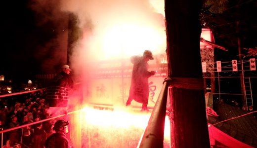 花火の火の粉が降りかかる!長野県長野市の犀川神社「秋季例大祭宵宮祭り」がすごい!